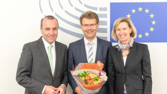 Daniel Caspary nach seiner Wahl zum Vorsitzenden der CDU/CSU-Gruppe im EP. Straßburg, 4.07.2017