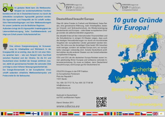 """Faltblatt """"10 gute Gründe für Europa"""""""