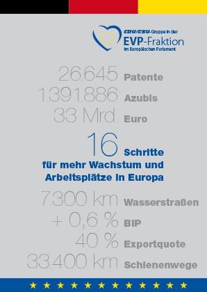 """Broschüre: """"16 Schritte für mehr Wachstum und Arbeitsplätze in Europa"""""""