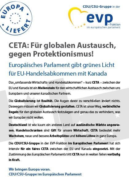 """Infoflyer """"CETA: Für globalen Austausch, gegen Protektionismus!"""""""