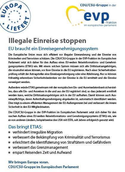 """Infoflyer """"Illegale Einreise stoppen - EU braucht ein Einreisegenehmigungssystem"""""""