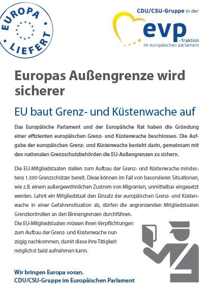 """Infoflyer """"Europas Außengrenze wird endlich sicher"""""""