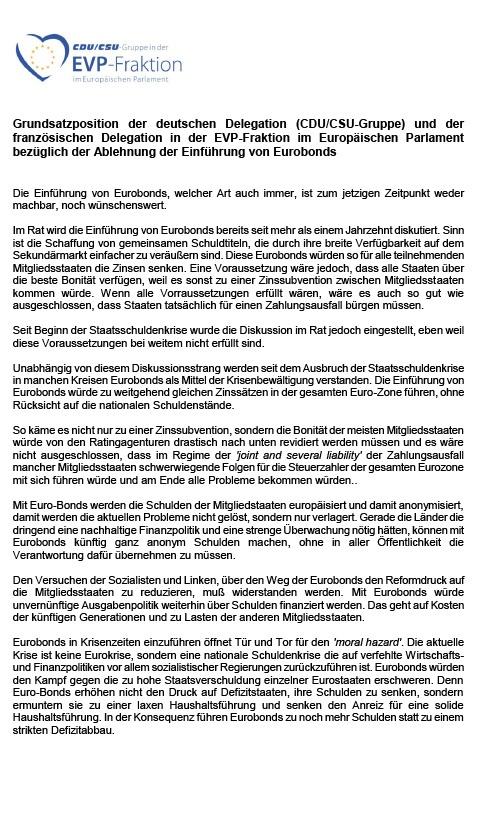 Grundsatzposition der deutschen Delegation (CDU/CSU-Gruppe) und der französischen Delegation in der EVP-Fraktion im Europäischen Parlament bezüglich der Ablehnung der Einführung von Eurobonds