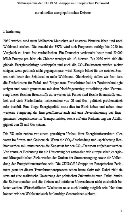 Stellungnahme der CDU/CSU-Gruppe im Europäischen Parlament zur aktuellen energiepolitischen Debatte