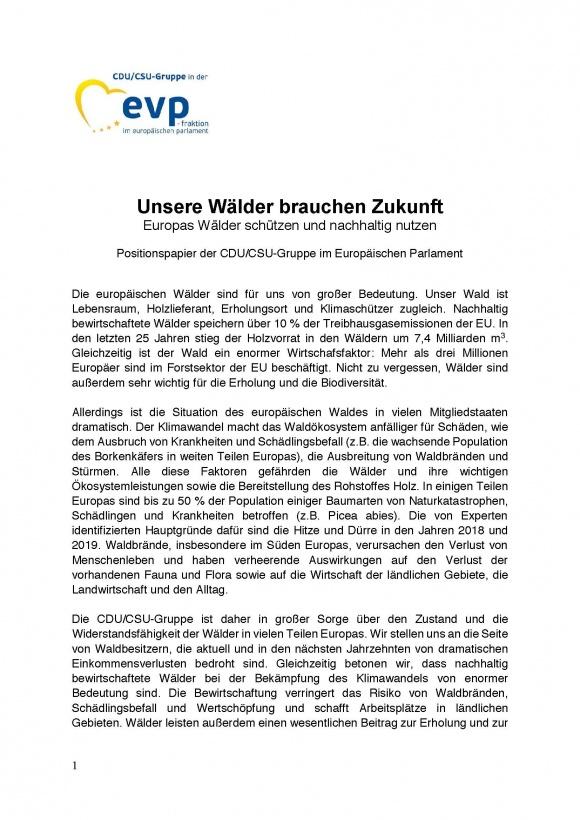 """""""Unsere Wälder brauchen Zukunft - Europas Wälder schützen und nachhaltig nutzen"""""""