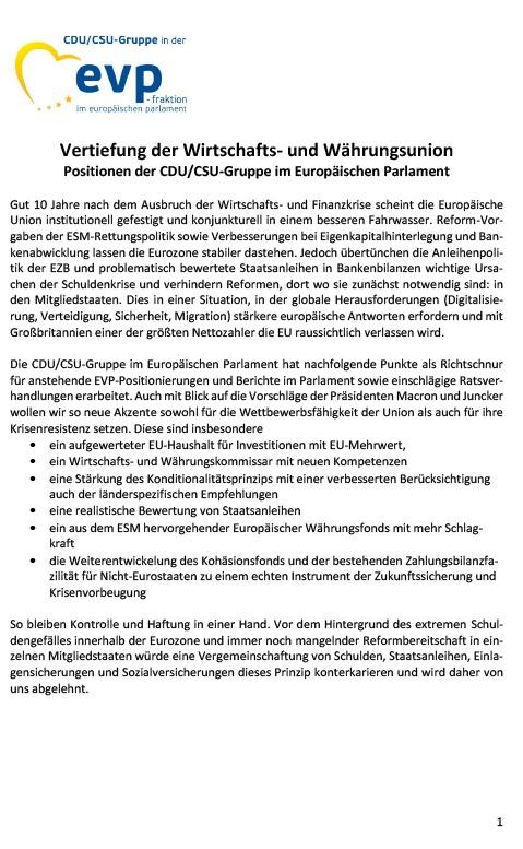 Vertiefung der Wirtschafts- und Währungsunion Positionen der CDU/CSU-Gruppe im Europäischen Parlament